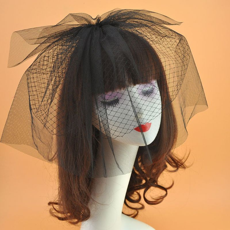 Womens Womens Bridal Wedding Fascinator Veil Hat Solid Color Two Layers Fishnet Mesh Hair Clips Photography Props Cocktail