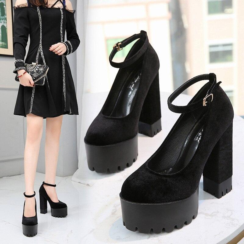 Image 2 - COWCOM buty damskie 15CM Super buty na wysokim obcasie wodoodporna platforma Catwalk pokaż pojedyncze buty damskie sandały ZYW 1317 2Wysokie obcasyButy -
