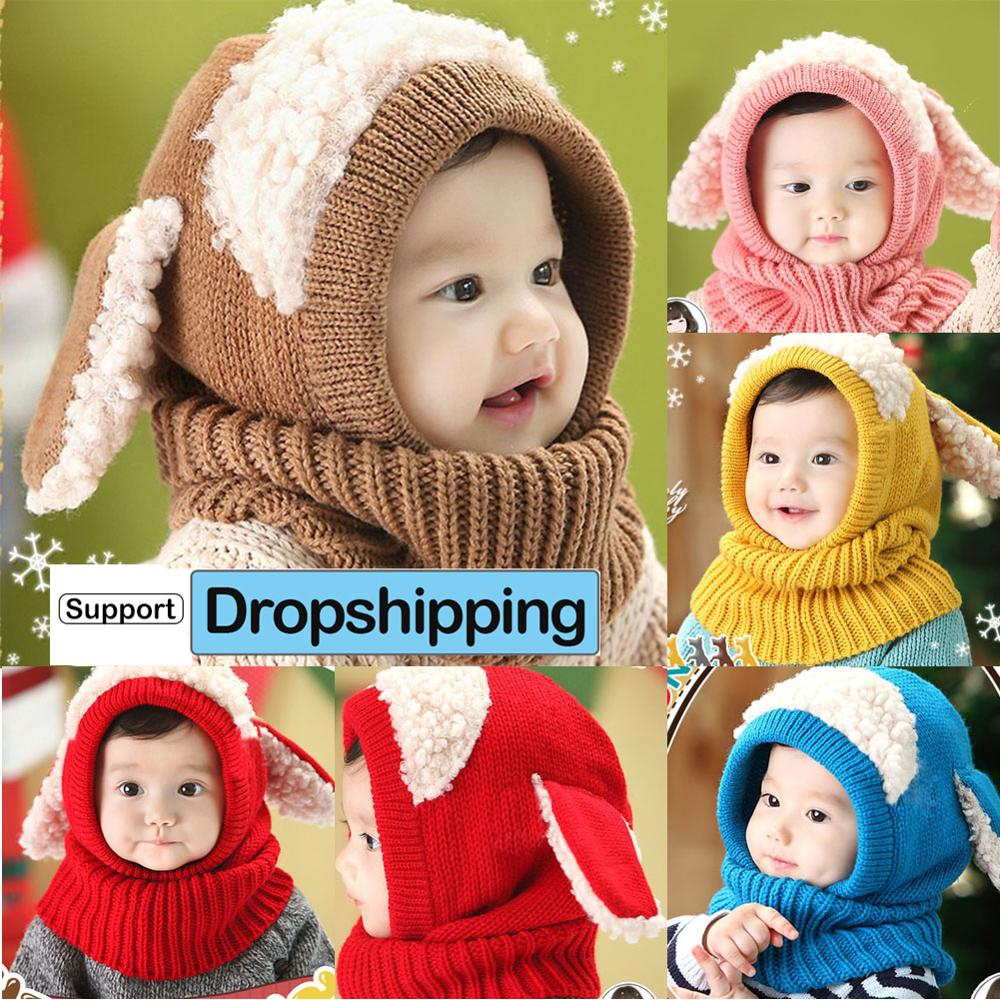 New Baby Rabbit Ears Knitted Infant Toddler Solid Winter Photogragh Warm Hat
