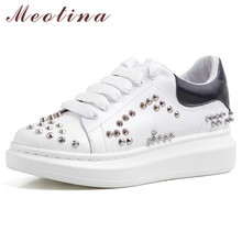 Meotina Real Leather Flats Sneakers Women Shoes Natural Genuine Leather Flat Platform Shoes Rivets Round Toe Shoes Lady Size 40