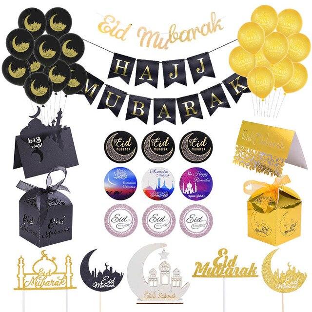 Ramadan Decor Eid Party Ballonnen Banner Gold Glitter Eid Mubarak Slingers Geschenkdoos Moslim Islam Hadj Ramadan Party Decoratie