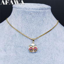 AFAWA 2020 Shell Zircon Copper Stainless Steel Couple Necklace for Women Gold Color Necklace Jewelry colgante mujer N59S01 недорого