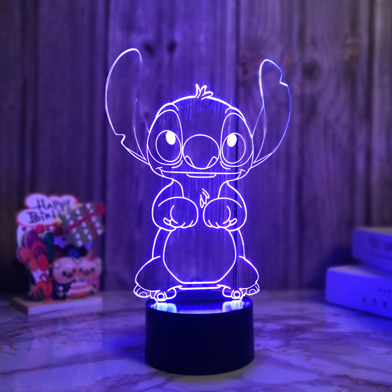 Stitch 3D Colorful Night Lights LED Table Lamp Remote Control Touch Control Atmosphere Light USB Charging Children's Gift