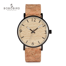 BOBO BIRD Mens Watches Wood Grain Dial Stainless Steel Case Quartz Watch with Soft Cork Bandfor Men as Gift Item