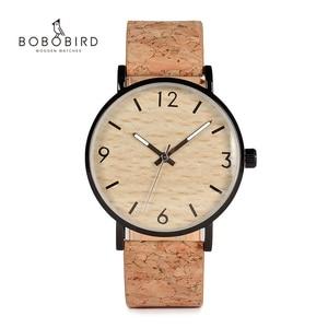 Image 1 - BOBO BIRD montres à Quartz pour hommes, avec cadran en liège souple, Grain de bois, comme article cadeau, boîte en acier inoxydable