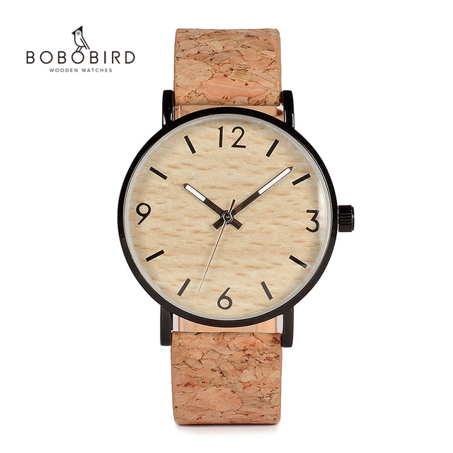 BOBO BIRD montres à Quartz pour hommes, avec cadran en liège souple, Grain de bois, comme article cadeau, boîte en acier inoxydable