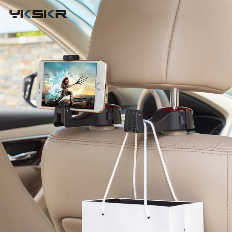 Multi-function Auto Car Headrest Hooks Mobile Stand & Magnetic Car Phone Holder Fastener Seat Back Hanger Clips For Bag Handbag
