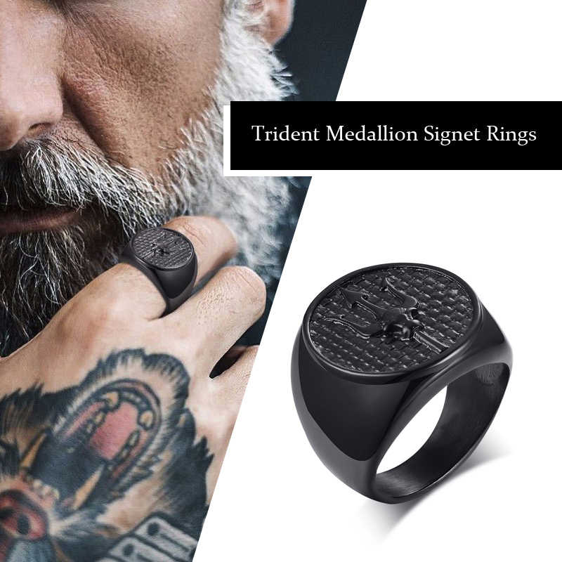 Neptune's Trident Medallion Signet Rings for Men Stainless Steel Black Poseidon's Astrology Band Male Jewelry