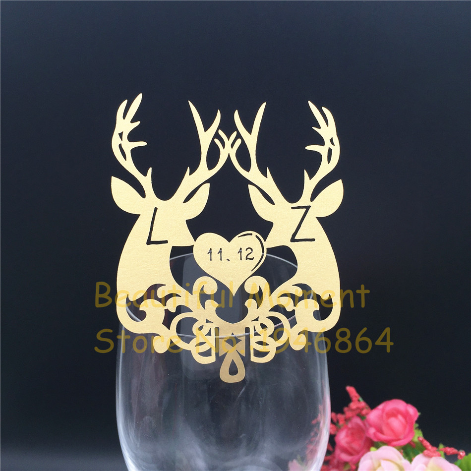 50Pcs/Lot Deer Cup Cards Table Mark Wine Glass Name Place Card Christmas Birthday Wedding Event Party Bar Decorations Party Gift image