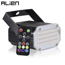 ALIEN 48 LED RGB Strobeสีขาวดิสโก้ดีเจปาร์ตี้วันหยุดคริสต์มาสเพลงคลับเสียงเปิดใช้งานแฟลชแสงเวทีผล