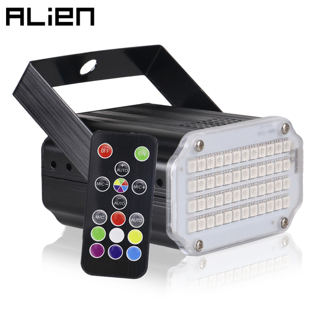 ALIEN 48 LED RGB UV White Strobe Lights Disco DJ Party Holiday Christmas Music Club Sound Activated Flash Stage Lighting Effect