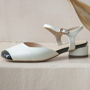Summer New Euro Style Fashion Casual Women Cow Leather Sandals Mixed Colors square Toe Thick Heel Ankle Strap Shoes Woman