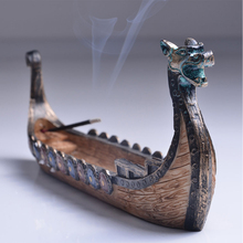 Traditional Chinese Design Dragon Boat Incense Stick Holder Burner Hand Carved Carving Censer Ornaments Retro Burners