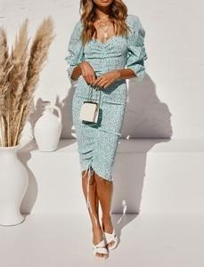 Image 2 - 2020 حزمة جديدة Hips دوت طباعة فستان بكم طويل أنيق المرأة جلد حتى مطاطا Ruched منتصف فساتين حفلات طويلة سليم صالح Vestido