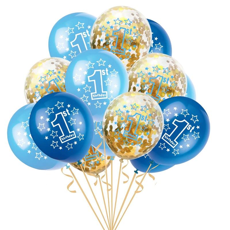 Ballons ronds en Latex pour bébés garçons et filles de 1 an, décorations de fête pour premier anniversaire, cadeaux pour enfants, 15 pièces/ensemble 12 pouces