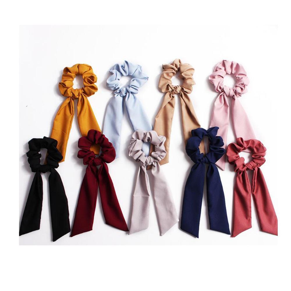 Floral Printed Ribbon Bow Hair Scrunchies Bohemian Polka Dot Women Elastic Hair Band Scarf Hair Rope Ties Girls Hair Accessories