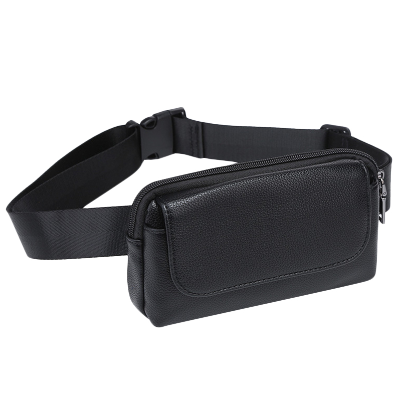 Women Waist Bag Black Pu Leather Fanny Pack Double Pocket Waist Pack For Women Small Phone Bag Girls Bag Purse