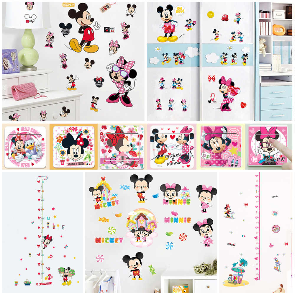 Lovely Mickey Minnie Pattern Wall Stickers For Girls Bedroom Home Decoration Diy Cartoon PVC Animals Mural Art Kids Wall Decals