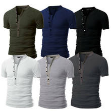 T-shirt da uomo Slim Fit con scollo a V manica corta Muscle Tee top casual Henley T shirt Solid Summer top Tee(China)