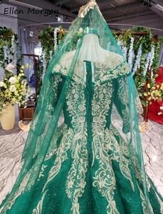 Image 5 - Glitter Dark Green Lange Mouwen Baljurken Trouwjurken Met Sluiers 2020 Puffy Arabisch Moslim Kant Voor Bridal Vrouwen