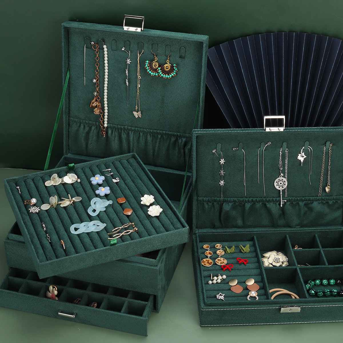 grande vintage jóias organizador anel colar maquiagem
