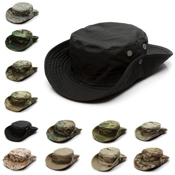 Camouflage Tactical Cap Military Boonie Hat US Army Caps Camo Men Outdoor Sports Sun Bucket Fishing Hiking Hunting Hats 60CM