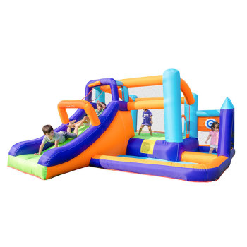 Inflatable Combo Slide Bounce House Jumper Jump in Bouncy Castle with Blower Indoor Backyard Party for Ball Pool Kids цена 2017