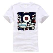 Men'S Mod, Lambretta, Scooter, Union Jack White T Shirt, Choose Your Size Harajuku Tee Shirt