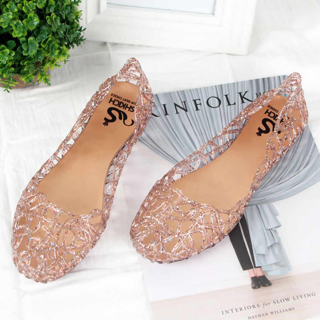 Zapatos planos de mujer chaissures planos de mujer zapatos de mujer sandalias de verano de gelatina de playa deslizantes en pisos casuales transpirables