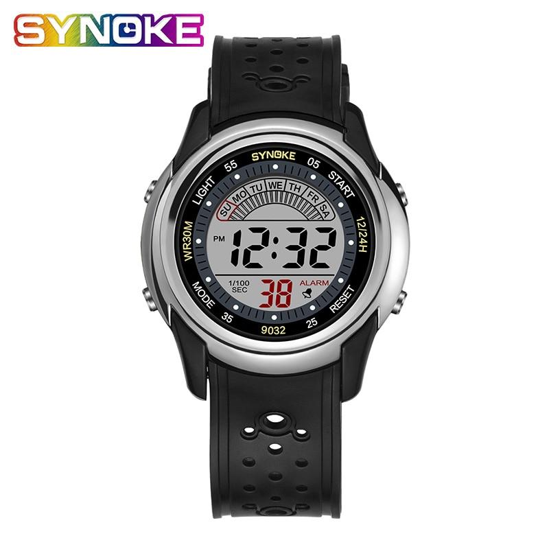 SYNOKE Student Children's Watches Kids Watches Boys Waterproof Watch Digital PU Strap Luminous Display Alarm Clock Date 12/24|Children's Watches| |  - title=