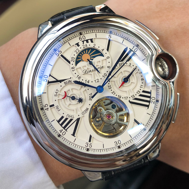 توربيون رجالي ساعة ماركة فاخرة حزام ساعة الرجال التلقائي الميكانيكية ساعة اليد الهيكل العظمي الرياضة الذكور الساعات relogio CASENO