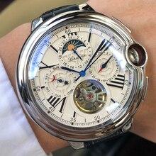 トゥールビヨンメンズ腕時計トップブランドの高級ベルト腕時計メンズ自動機械式腕時計スケルトンスポーツ男性時計レロジオcaseno