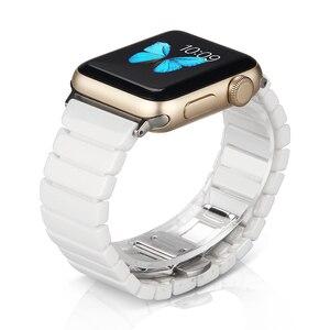 Image 1 - Ceramic Watchband for Apple Watch band 44mm 42mm Smart Watch Link Strap Bracelet Ceramic Watchband iWatch series 5 4 3 40mm 38mm
