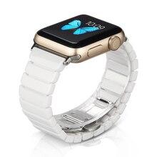 Seramik kordonlu saat Apple Watch band için 44mm 42mm akıllı İzle bağlantı askısı bilezik seramik Watchband iWatch serisi 5 4 3 40mm 38mm