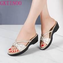 Шлепанцы gktinoo женские из натуральной кожи Нескользящие сандалии