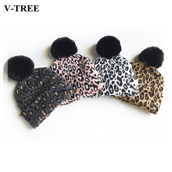 Dopasowane rodzinne stroje Leopard kapelusze dla dzieci matka czapki dla dzieci zimowe czapki dla dzieci ciepłe fotografia rekwizyty dziewczyny czapki chłopcy odzież tanie i dobre opinie V-TREE COTTON Wyposażone Unisex Drukuj 0-3 miesięcy 4-6 miesięcy 7-9 miesięcy 10-12 miesięcy 13-18 miesięcy 19-24 miesięcy