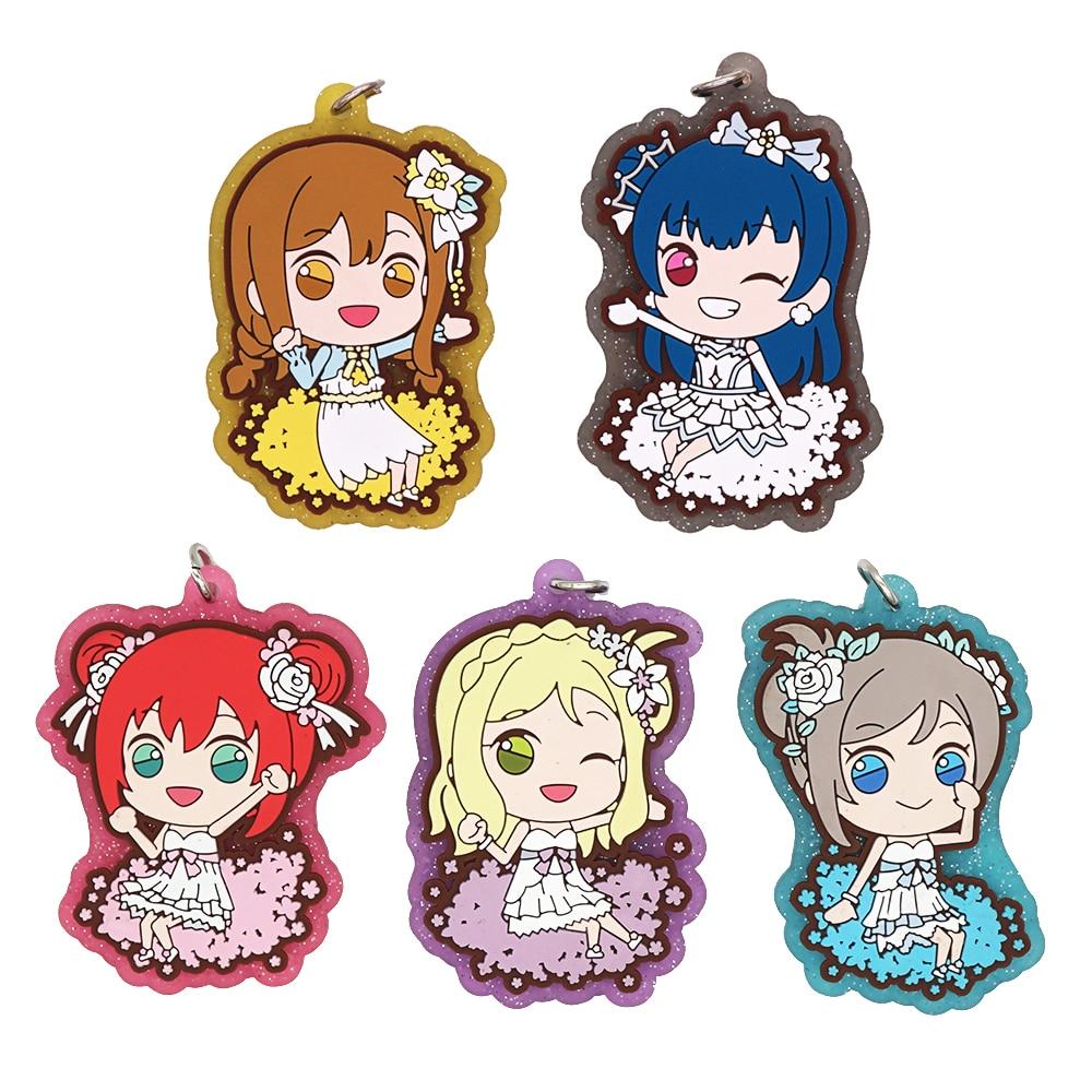 Love Live Lovelive Sunshine Anime Tsushima Yoshiko Yohane Kunikida Hanamaru Mari Watanabe You Ruby Aqours Rubber Keychain