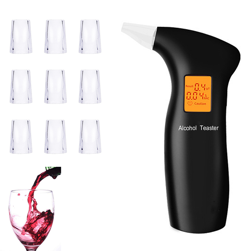 LAMJAD 2019 Portable Breath Alcohol Tester With 10 Mouthpieces, Professional Alcohol Tester With Backlight LCD  Screen ,black