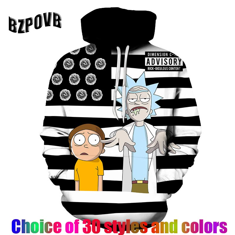 2019 new fashion Rick and morty hoodies harajuku hot sale anime hoodie 3D Print Hooded hip hop Casual sweatshirt streetwear