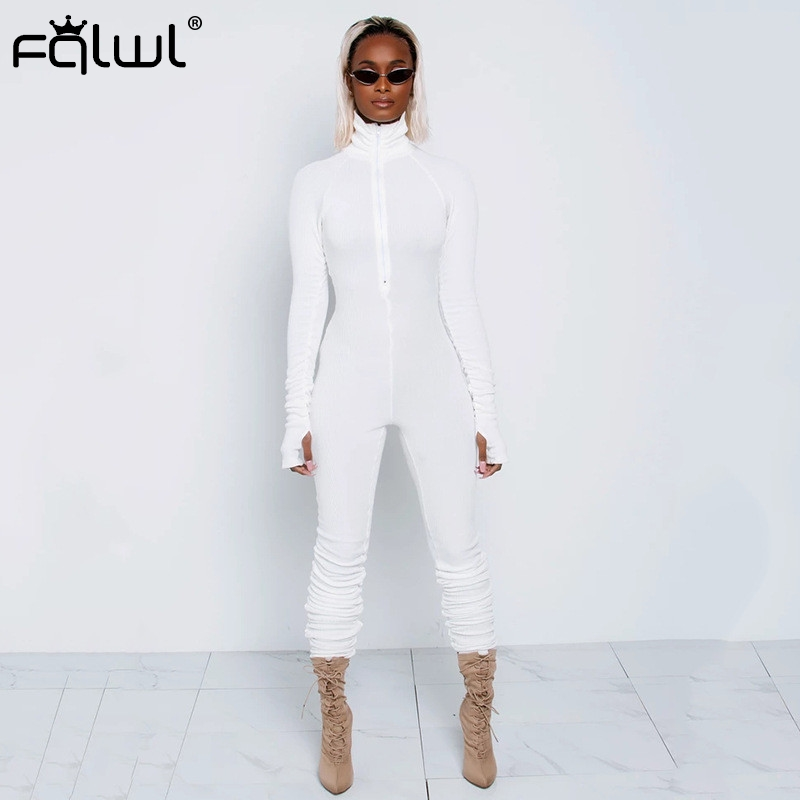 FQLWL Ribbed Knitted White Balck Bodycon Jumpsuit Women Overalls Zipper  Sexy Romper Women Ladies Long Sleeve Jumpsuits Female