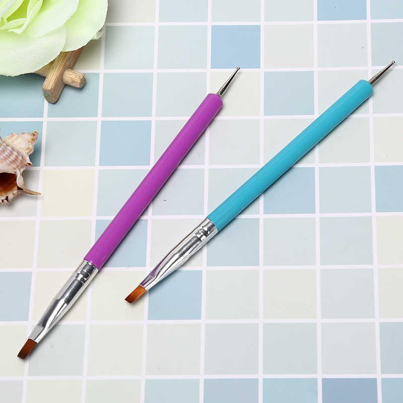 المهنية مزدوجة رئيس مسمار الفن القلم أقلام رصاص اللوحة التنقيط جل الأشعة فوق البنفسجية من الإكليريك فرشاة تلميع بطانات نقطة الحفر القلم أدوات 16 سنتيمتر