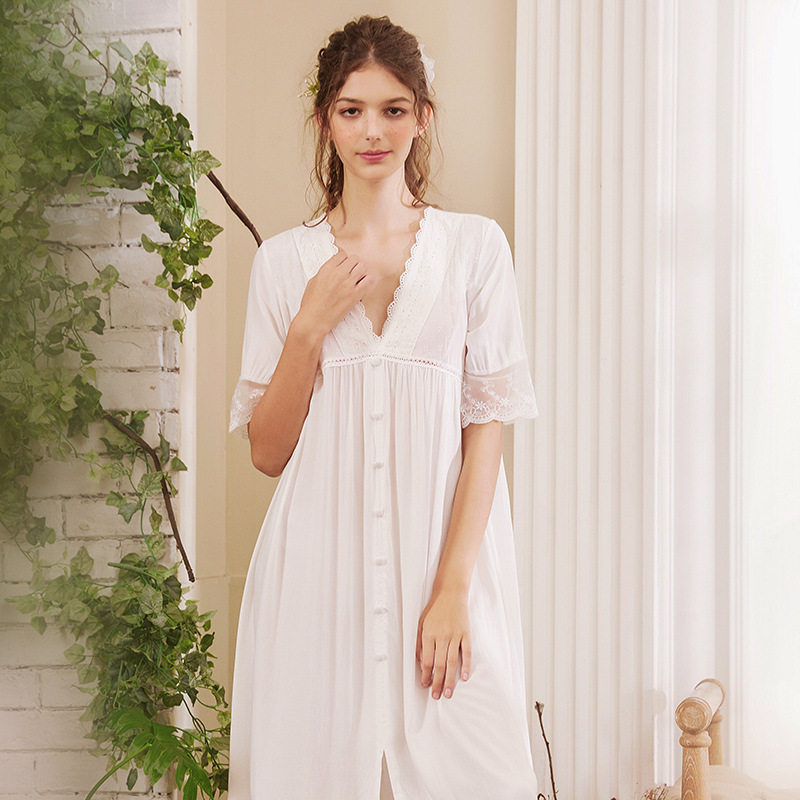 Image 5 - Roseheart Women White Sexy Sleepwear Night Dress Lace Homewear Nightwear Luxury Nightgown Female Court Gown CottonNightgowns & Sleepshirts   -