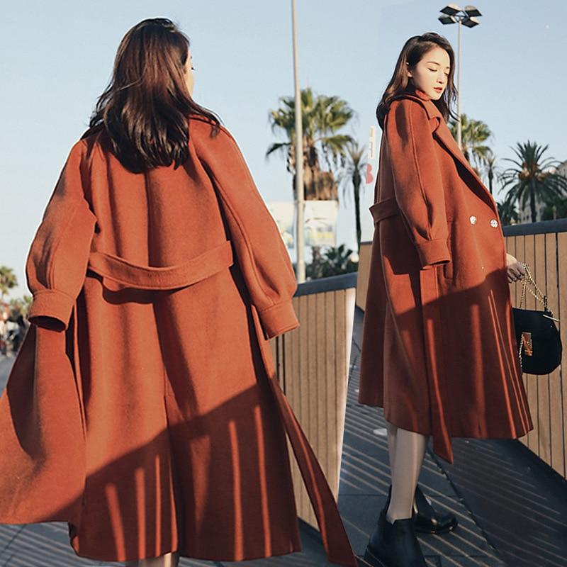 2019 Autumn Winter Woolen coats Women Lantern Sleeve Wool&blends Long Woolen Coat Casual Loose Wool Jacket Female Outwear 10