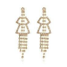 Yobest, pendientes de gota de cristal brillante de lujo, pendientes cuadrados de diamantes de imitación de Color dorado y plateado para mujer, joyería para fiesta y boda