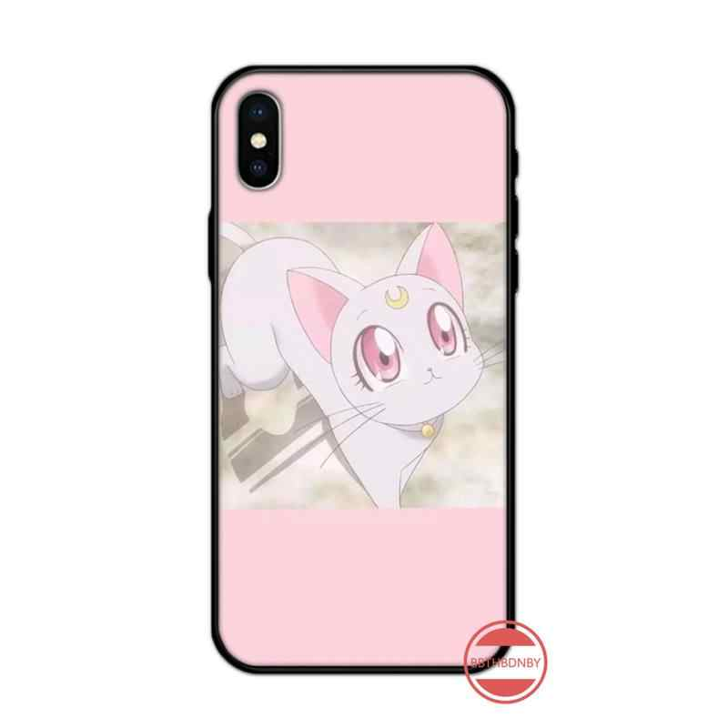 Leuke Sailor Moon Screen Protector Anime Tpu Black Phone Case Cover Romp Voor Iphone 5 5S Se 5C 6 6S 7 8 Plus X Xs Xr 11 Pro Max