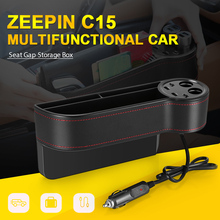 ZEEPIN C15 Multi gebruik Auto Seat Gap Opbergdoos PU Leather Case Pocket Rechts Seat Side Slit Voltage Display 2 sigarettenaansteker