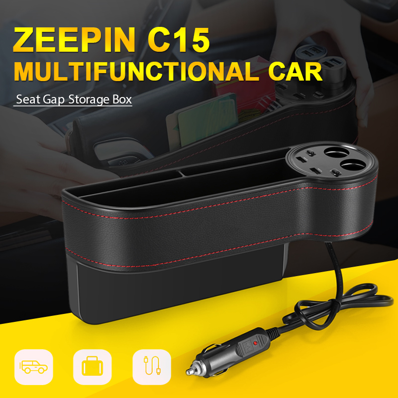 ZEEPIN C15 Multi use Car Seat Gap Storage Box PU Leather Case Pocket Car Seat Side Slit Voltage Display 2 Cigarette lighter-in Stowing Tidying from Automobiles & Motorcycles