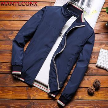 MANTLCONX Plus rozmiar M-8XL na co dzień kurtka mężczyźni wiosna jesień kurtki męskie kurtki i płaszcze męskie kurtki dla mężczyzn odzież marka tanie i dobre opinie zipper Kurtki płaszcze MT-BDFS-002 REGULAR STANDARD NONE Poliester Stałe Kieszenie Normcore minimalistyczny Stojak Rib rękawem