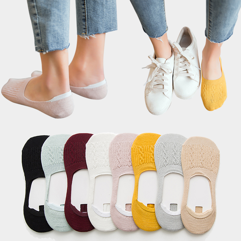 Slipper Socks Prevent-Heel-Loss Funny Silicone Cotton Women Summer 5-Pairs Softable Solid