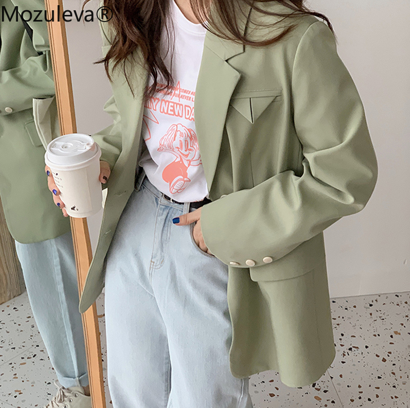 Mozuleva 2020 Casual Green Single-breasted Women Blazer Office Ladies Suit Jacket Female Spring Elegant Outwear Blaser Femininas